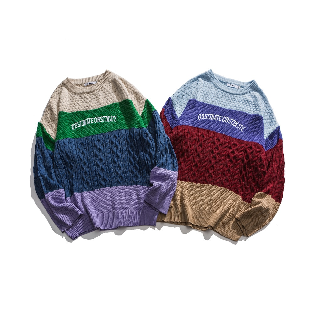 Streetwear SL172 / 'OBSTINATE Retro Patchwork' Sweaters hiphop dope clothing